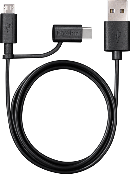 2in1 Charge & Sync Cable Micro USB & USB Type C VARTA